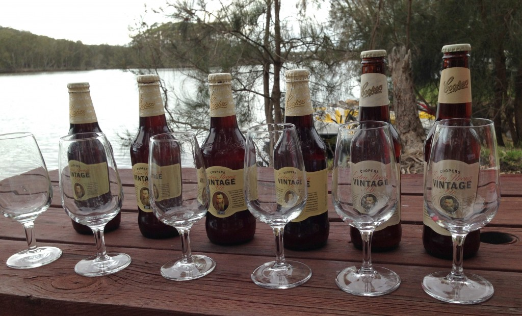 Ready for tasting: Cooper's Vintage Ale, vintage 2008–2013, Lake Conjola NSW, 8 January 2014