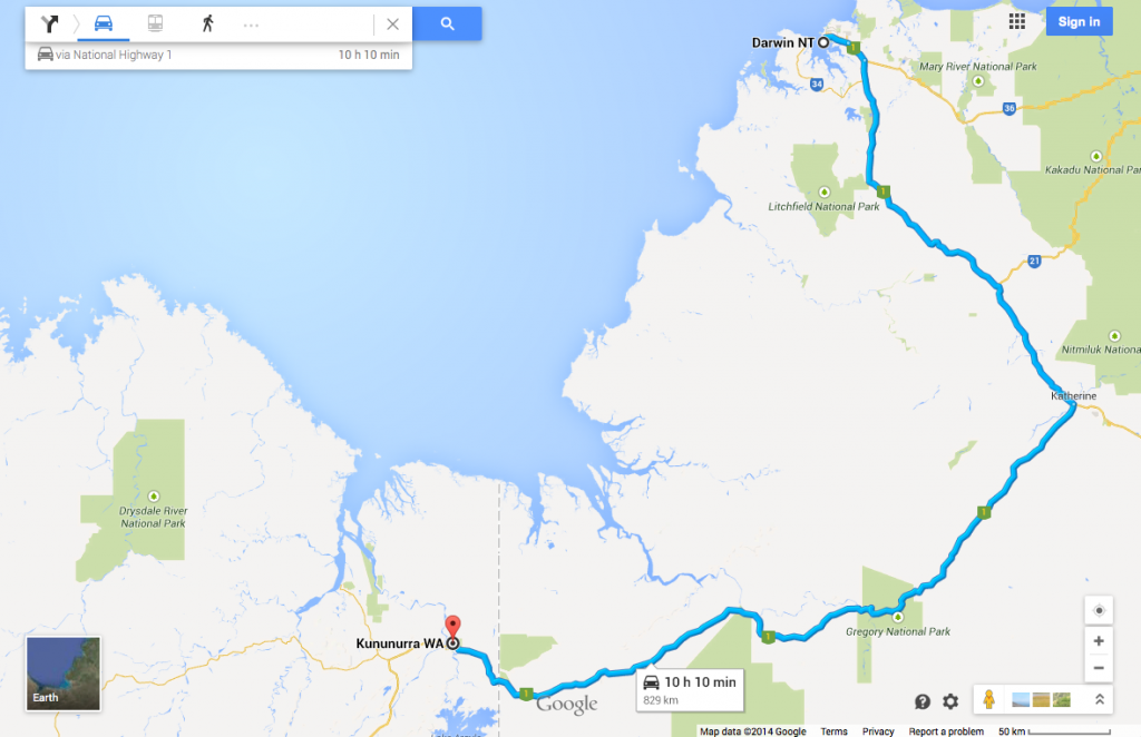 Darwin, Northern Territory, to Kununurra, Western Australia. Source: Google Maps.