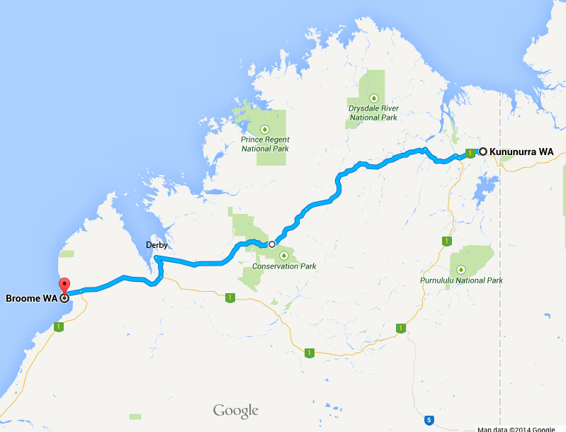 The mighty Kimberley: the dirt Gibb River Road (blue) and sealed Great Northern Highway (1).Source: Google Maps.