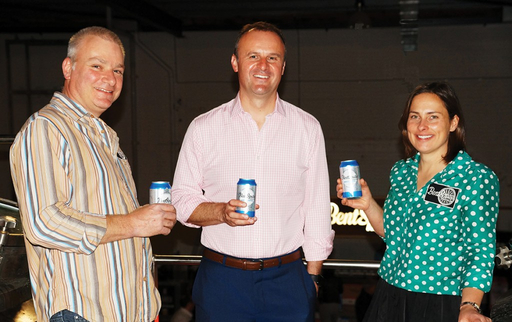 BentSpoke owners Richard Watkins and Tracy Margrain with ACT  Chief Minister Andrew Barr (centre)